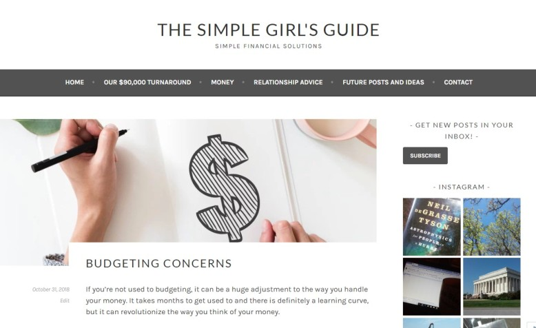 """The Simple Girl's Guide """"Budgeting Concerns"""""""