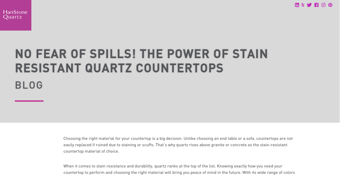 Link to home remodeling blog post: No Fear of Spills! The Power of Stain Resistant Quartz Countertops