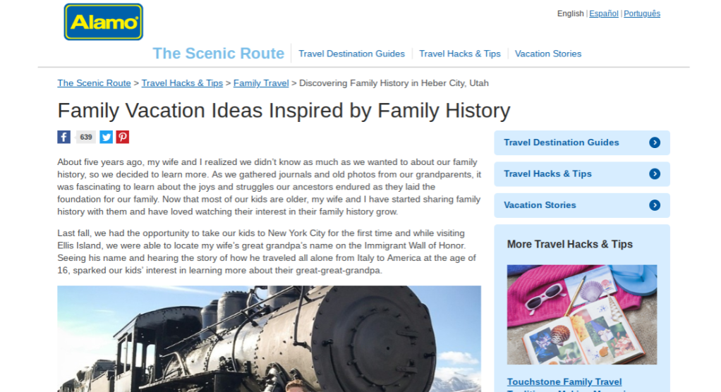 Link to edited blog post: Family Vacation Ideas Inspired by Family History