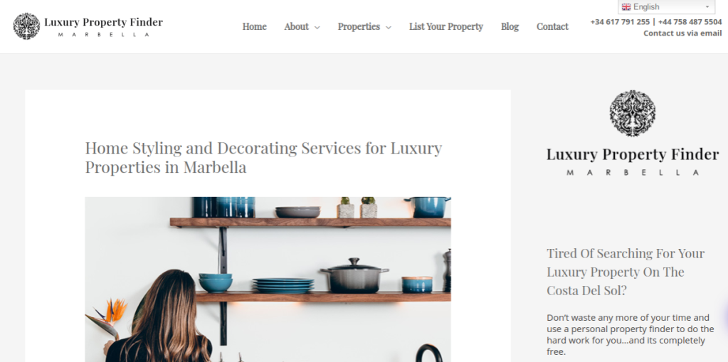 Link to marketing web copy for Home Styling and Decorating Services for Luxury Properties in Marbella