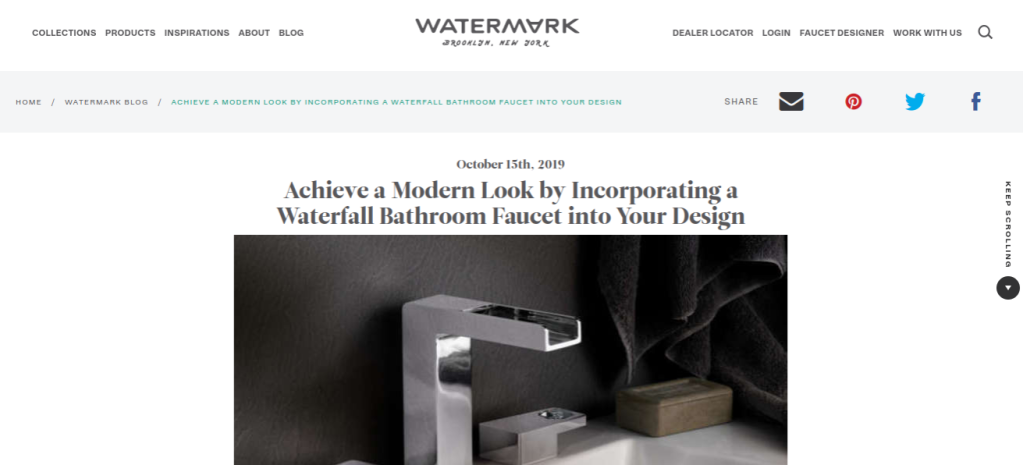 Link to interior design blog post: Achieve a Modern Look by Incorporating a Waterfall Bathroom Faucet into Your Design